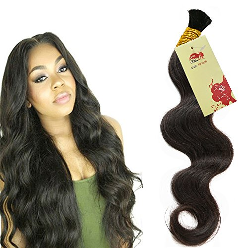 Hannah Queen Wet N Wavy Bulk hair HUMAN HAIR Micro Braiding 3 Bundle 150g Brazilian Body Wave Bulk Hair For Braiding Human Hair No Weft (18 18 18 Natural Black #1B) (Best Wet N Wavy Braiding Human Hair)