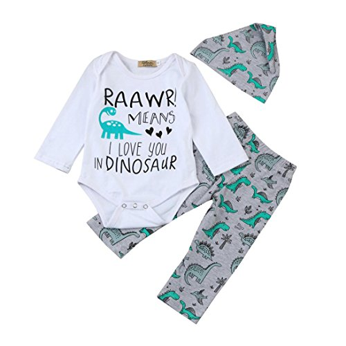 Cywulin Christmas Baby Cotton Blend Letter Print Romper Tops+Dinosaur Pants Outfits Set (3-6 Month)