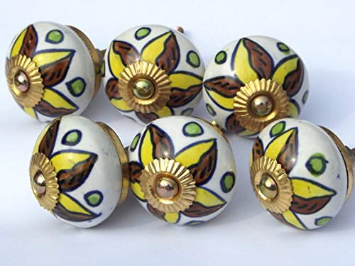 6 X White round Yellow Brown petals & Green spots (brass fittings) ceramic cupboard door knobs drawer pulls by Glass doorknobs and furniture pulls