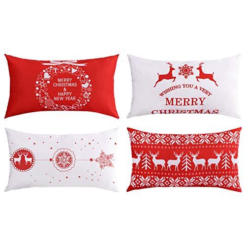 BLEUM CADE Throw Pillow Covers Merry Christmas Throw Pillow Case Cushion Cover Christmas Deer Christmas Series Cushion Zippered Square Pillowcase 12 x 20 Set of 4