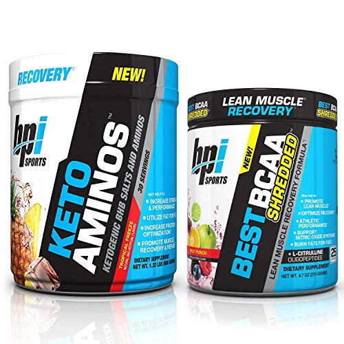 BPI Sports Keto Aminos Tropical Freeze (30 Servings) and Best BCAA Shredded Fruit Punch (25 Servings) Muscle Recovery and Weight Loss Stack