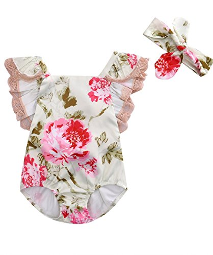 Newborn Baby Girls Lace Flower Floral Bodysuit Romper Jumpsuit With Headband Clothes Outfits Set