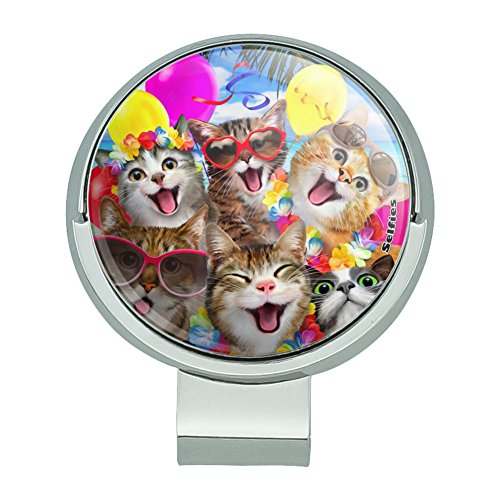 - GRAPHICS & MORE Cats Hawaiian Luau Birthday Party Selfie Golf Hat Clip with Magnetic Ball Marker