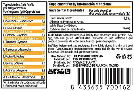 Life Pro Carb Stop bloqueador de carbohidratos y grasas a base de aislado de proteína de arroz y judía blanca – Inhibidor de hidratos de carbono y ...