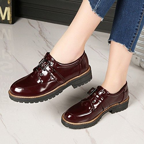 Buckle Leather Women's Win Mary Heel Block CHNHIRA Ankle Shoes Red Janes Retro wT56wqzd
