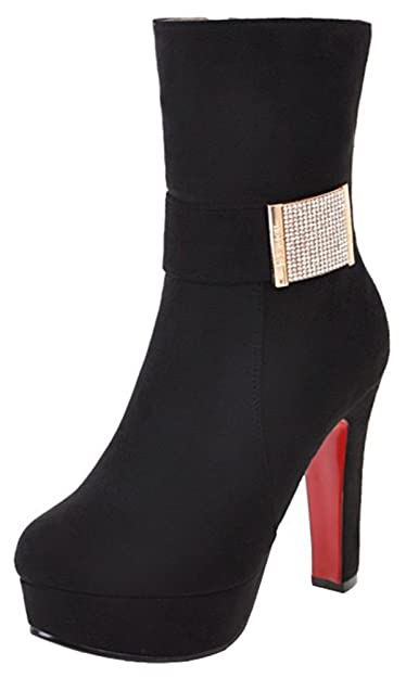 Women's Sexy Faux Suede Rhinestone Belt Round Toe High Chunky Heel Platform Mid Calf Boots with Zipper