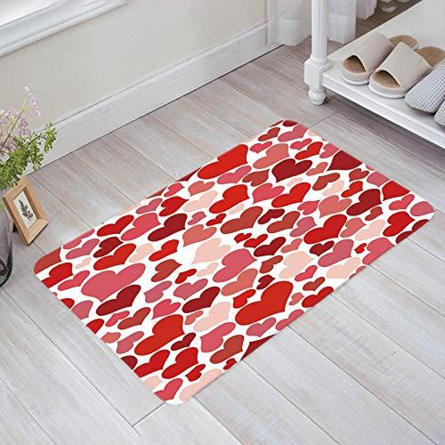 Non-Slip Doormats Welcome Mats Mud Dirt Trapper Entrance Mats Rug Shoes Scraper for Floor/Indoor/Kitchen/Bedroom, Colored Valentine Day Heart Love 18'' x 30''