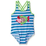 Wippette Girls' Stripes with Fish Applique Swimsuit