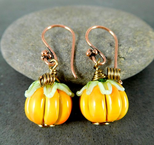 Rustic Pumpkin Drop Earrings