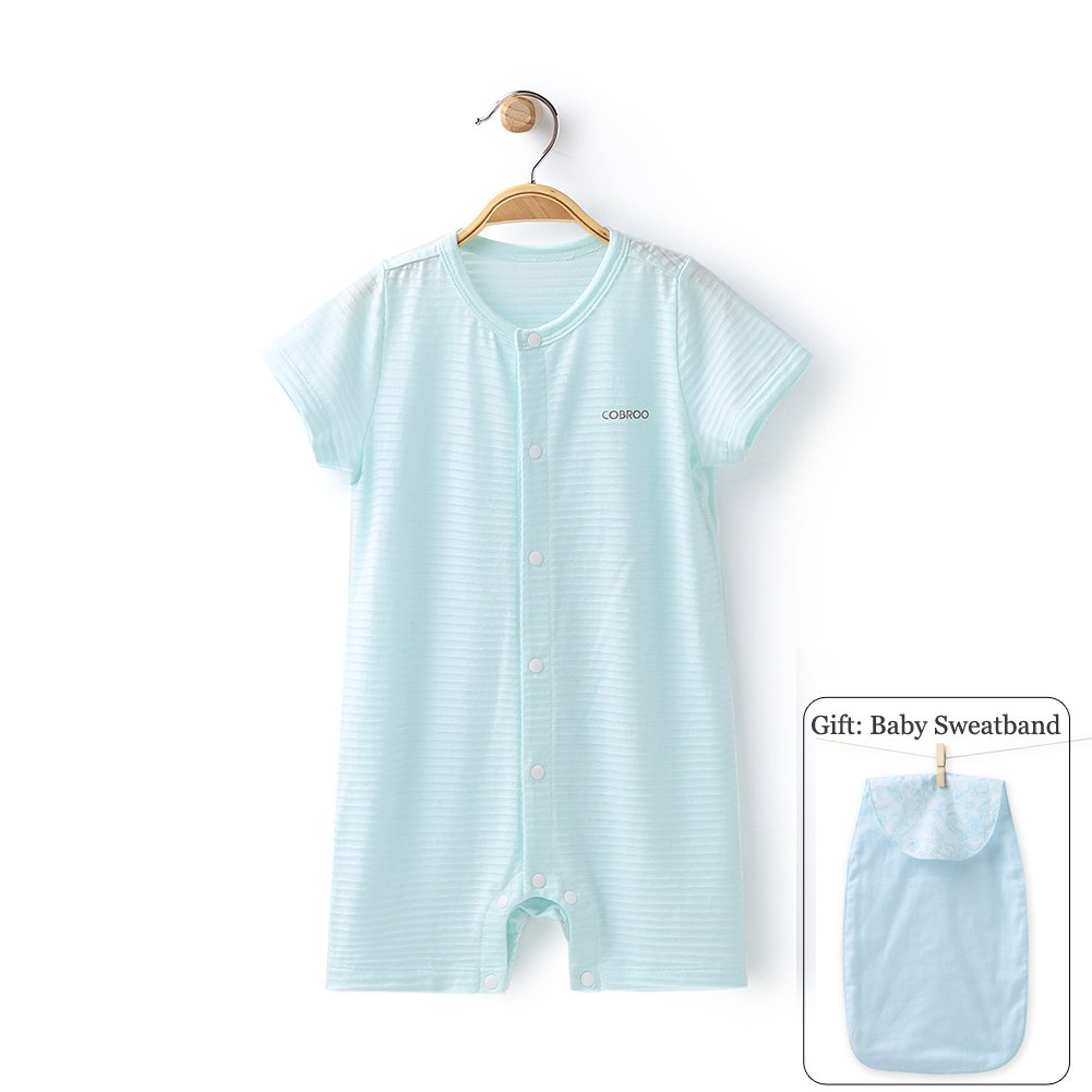 COBROO 100% Unisex Baby Romper with Short Sleeves Solid Color Breathable Thin Summer Onesie Light Green for 12-24 Months