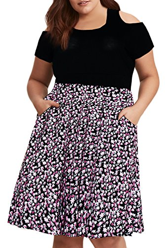 Nemidor Women's Floral Print Cold Shoulder Plus Size Fit and Flare Casual Dress with Pockets (18W, Red-Print)