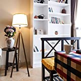 Kshioe Contemporary Tripod Floor Lamp, Modern Design Wooden Colored Decorating Lights Mid Century Style Standing Lighting with Linen Fabric Lampshade