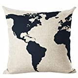 "Best Home Decors For Sofa Cars - Clearance 18"" x 18"" Cotton Pillow Covers,FimKaul Map Review"