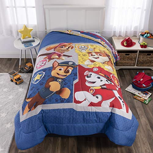 Nickelodeon Paw Patrol Kids Bedding Soft Microfiber Reversible Comforter Twin/Full Size 72 x 86 Blue - Large Character Design