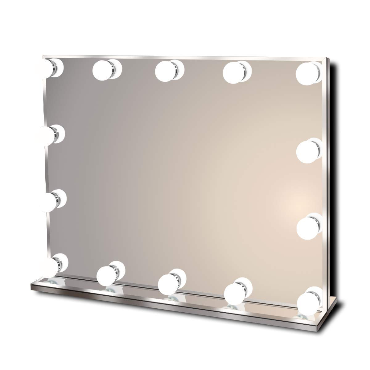 Hollywood Lighted Vanity Makeup Mirror with Bright LED Lights, Light-up Frameless Dressing Table Cosmetic Mirror with 14 Dimmable Bulbs, Multiple Color Modes, Table-Top or Wall Mount, Large by Waneway