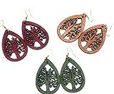 Bohemian Earrings, Boho Wood Earrings for Women, Tree of Life Earrings, Lightweight Unique Earrings with Laser Cut Wooden Design (Medium Oak)