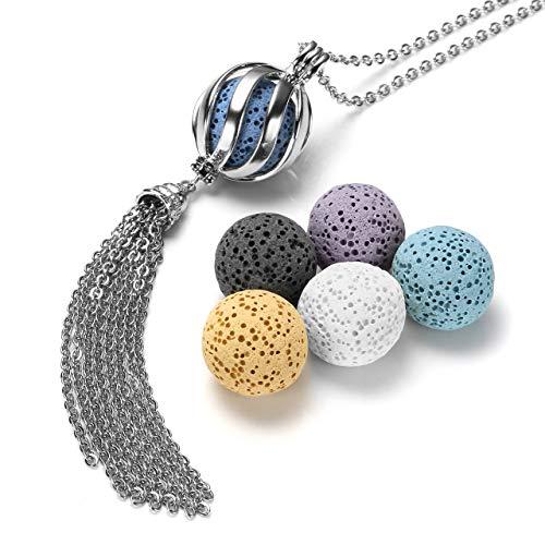 - JOVIVI Aromatherapy Essential Oil Diffuser Necklace Silver Twist Ball Tassel Locket Pendant + 6 Dyed Lava Stone Beads w/Box