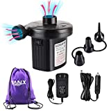 YANX Electric Air Pump, 2 in 1 Portable Air Mattress Pump Two-Way Universal Inflator Electric Pump for Inflatables Pool, Airbeds, etc with 3 Nozzles and 1 Storage Bag