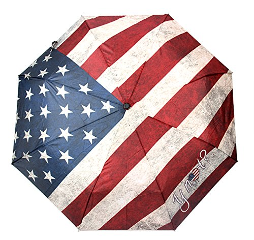 HappyGo Retro Personality American Flag Umbrella Folding Sunny Rainny Protection UV Automatic Travel Umbrella Windproof Auto Unbreakable (American Protection)