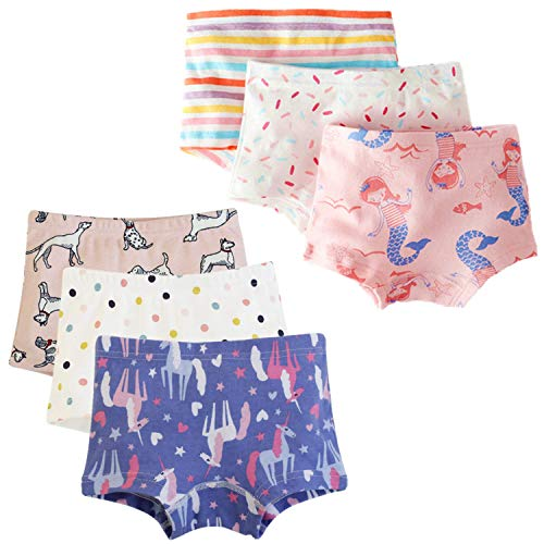 (Cczmfeas Girls Hipster Cotton Underwear Boyshort Panties 6 Pack (A-6 Pack, 1-3 Years))