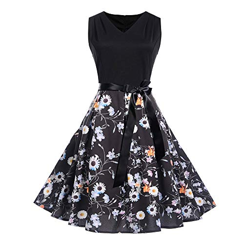(KESEELY Womens Vintage Swing Dress Sleeveless Floral Printing Sexy Formal O Neck Evening Dress Black)