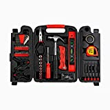 Fuller Tool 997-0132 Homeowners Repair Tool Kit, 134Piece Set hands tools sets wrench sockets key kits hex keys mechanic gifts for men organizing box hammer screwdrivers bits tape measure pliers level