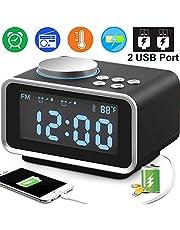 "Duperym Digital Alarm Clock Radio - 3.5"" Blue LCD Snooze Alarm Clock FM Radio with Dual USB Charging Ports Temperature Dimmer Sleep Timer, Adjustable Alarm Volume, 12/24 Hours for Thanksgiving Gifts"