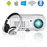 EUG Portable LED Projector Wireless Bluetooth Airplay Miracast HDMI USB 3200 Lumens WXGA LCD Multimedia Movie Video Games TV Home Theater Cinema Outdoor Party Entertainment