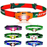 Rayvenge T1A LED Headlamp with Red Light, 115-Lumen, 114-Meter, IPX6 Waterproof, 6 Light Modes, 80h Long Battery Life, Only 1.3oz - Best Headlamps for Running, Camping, Hiking (Orange)