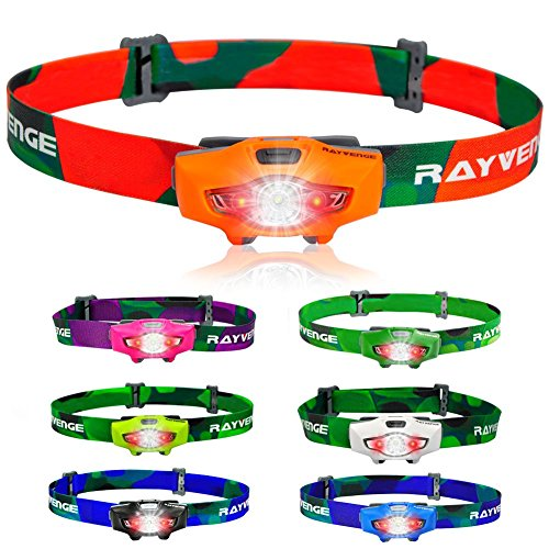 RAYVENGE T1A Headlamp with Red LED, 115-Lumen, 114-Meter, IPX6 Waterproof, 6 Light Modes, 80h Long Battery Life, Only 1.3oz - Best Headlamps for Running, Camping, Hiking (Orange)