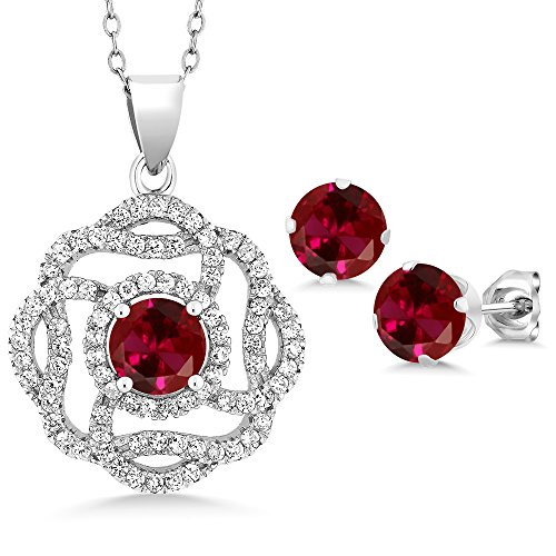Gem Stone King Sterling Silver Red Created Ruby Pendant Earrings Set 5.06 cttw Round with 18inches Chain