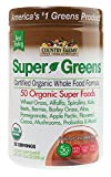 Country Farms Super Greens Chocolate Flavor, 50 Organic Super Foods, USDA Organic Drink Mix, 20 Servings