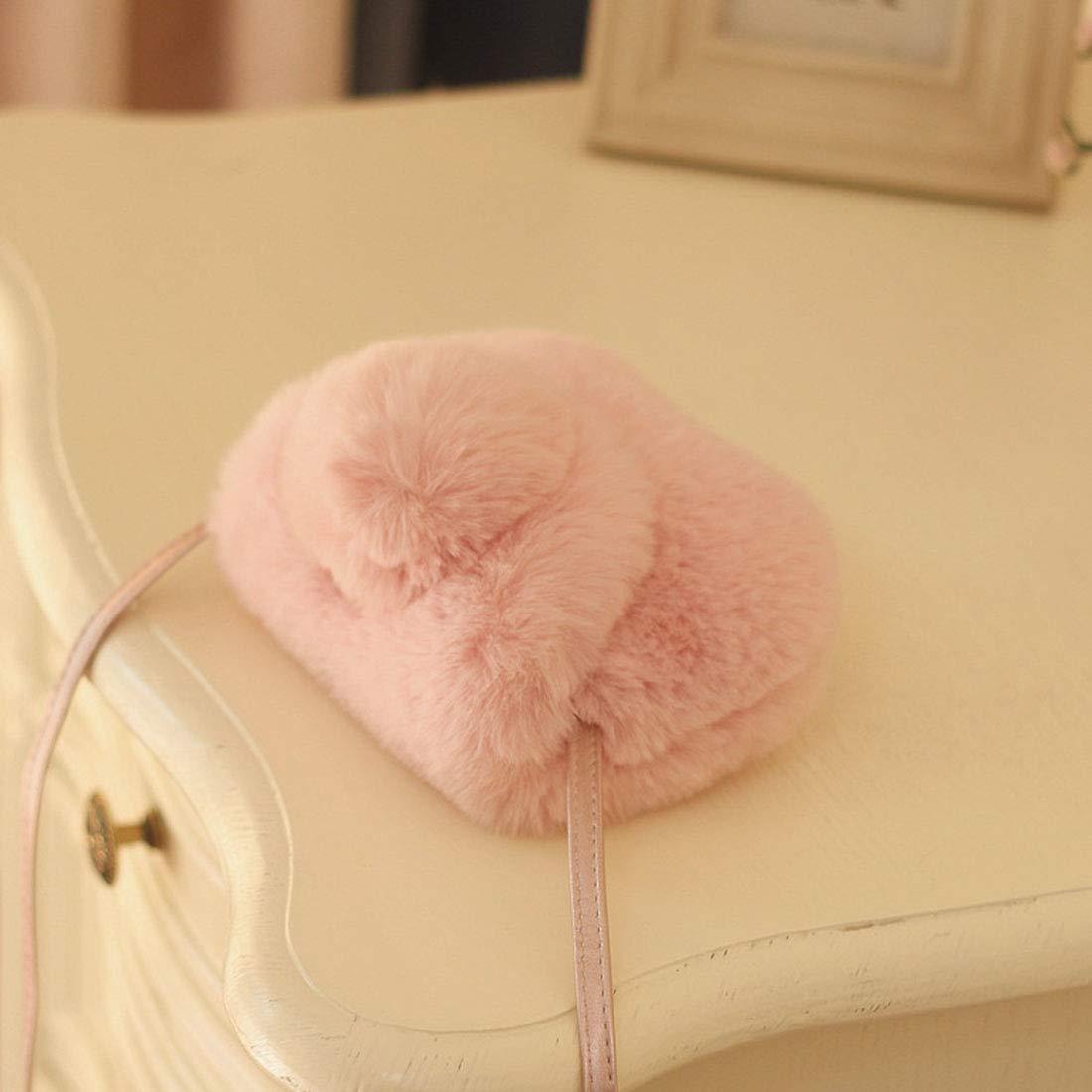 White Toddler Girl Lovely Pompom Hairy Mini Princess Purse Shoulder Bags Messenger Handbag