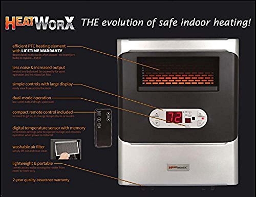 HeatWorx Portable Infrared Space Heater with air MAX Efficient Flow Technology by HeatWorx HWA 14 (Image #2)