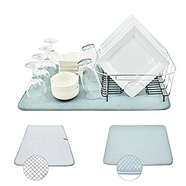 Houseables Dish Drying Rack Mat, Microfiber, XL, 24  x 18 , X-Large, Reversible, Dual Surface Ktichen Pad, Fast Dry Dishes, Super Absorbent, Machine Washable, Gray, for Counter Pots, Pans, Glassware