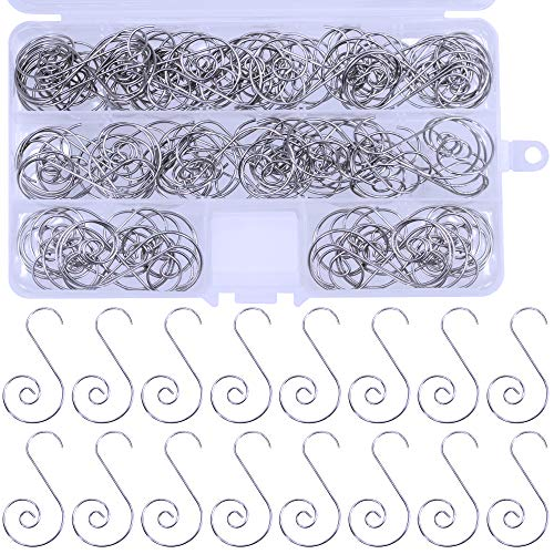 120 Pcs Christmas Tree Ornament Hooks Spiral Hook Metal Decorative Hangers Silver Metal Wire Scroll Small Decorative Ornament Hooks for Holiday Season Craft Supply