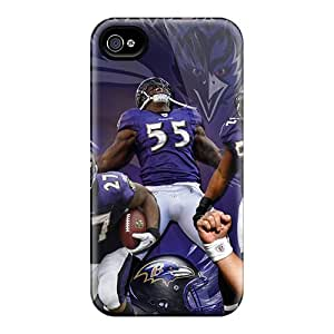 Iphone 4/4s WXT7328nKYT Support Personal Customs Attractive Baltimore Ravens Pattern Shock-Absorbing Hard Phone Case -KaraPerron
