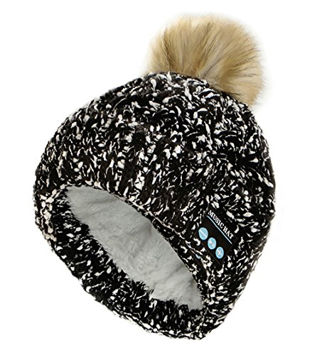 PRETTYGARDEN Women's Trendy Warm Wireless Music Beanie Pom Pom Hat with Wireless Headphone Headset Speaker Mic Hands Free for Running Skiing Skating Hiking