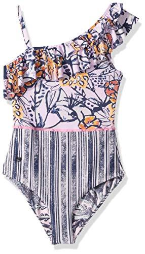 Maaji Big Girls' One Piece with Ruffle Shoulder Swimsuit, Santa Catarina Pink Stripe, 10 ()