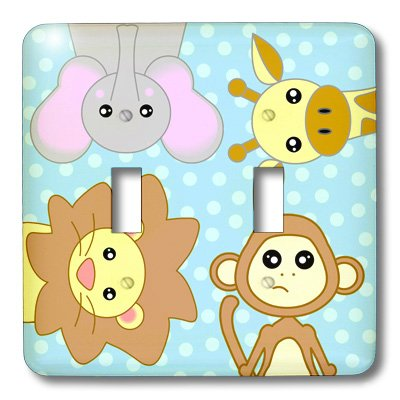3dRose LLC lsp_15434_2 Curious Baby Animals Lion Monkey Giraffe Elephant on Blue Background, Double Toggle Switch Blue Double Light Switchplate