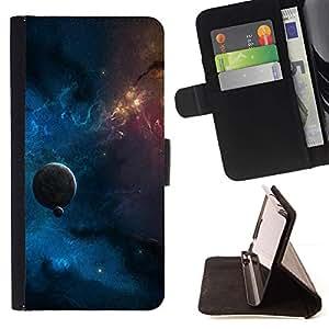 Momo Phone Case / Flip Funda de Cuero Case Cover - Espacio cúmulo de galaxias Estrella Planeta Azul Rojo Amarillo - Sony Xperia M4 Aqua