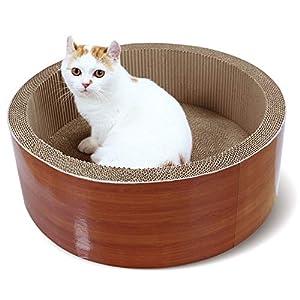 "ScratchMe Cat Scratcher Post & Board, Round Cat Scratching Lounge Bed, Durable Pad prevents Furniture Damage, 17.32"" x 17.32""x 6.11"""