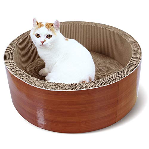 ScratchMe Cat Scratching Post Lounge Bed, Round Shape Cat Scratcher Cardboard Board Pads with Catnip, Durable Recycle Pad Toy Prevents Furniture Damage