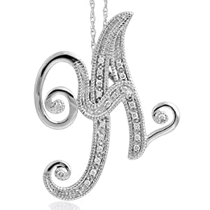 diamond letter necklace 14k white gold alphabet initial letter a 21360