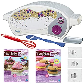 Kids Baking Fun Easy Bake Oven Ultimate Star Edition + Red Velvet Cupcakes Refill + Chocolate Chip and Pink Sugar Cookies Refill + Mini Whisk