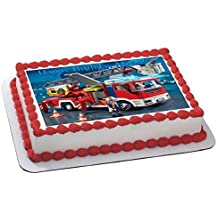 Lego Fire Truck Edible Birthday Cake OR Cupcake Topper - 7.5 x 10' rectangular inches