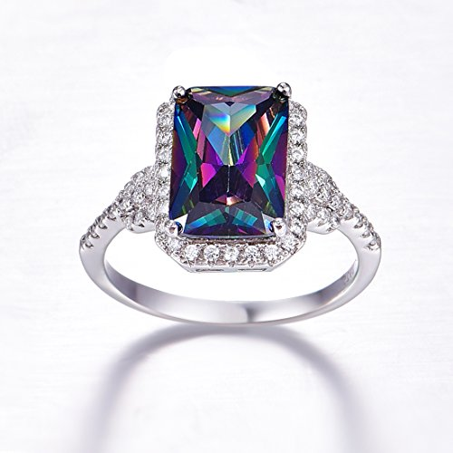 Merthus 925 Sterling Silver Created Mystic Rainbow Topaz Halo Engagement Ring for Women by Merthus (Image #1)