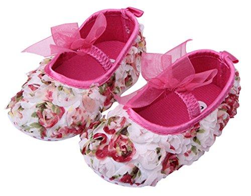 Happy Cherry Baby Mädchen Lauflernschuhe Kleinkind Spitze Krabbelschuhe nette Babyschuhe weichen Sohlen Prinzessin Schuhe Rose Blumen Flache Babyschuhe (13-18 Monate)