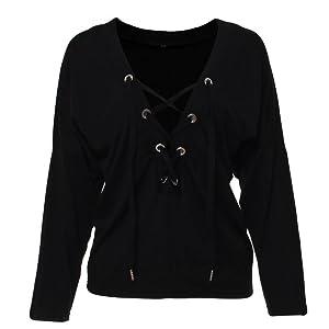 Women Fashion Casual Long Sleeve Tops Deep V-neck Bandage Blouses Shirts (XL, Black)