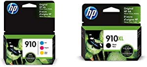 HP 910 | 3 Ink Cartridges | Cyan, Magenta, Yellow | 3YL58AN, 3YL59AN, 3YL60AN & 910XL | Ink Cartridge | Black | 3YL65AN